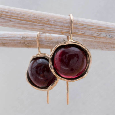 14k Solid Gold 12mm Garnet Vintage Earrings