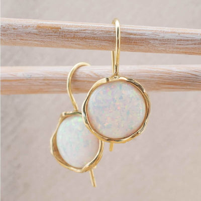14k Solid Gold 12mm White Opal Vintage Earrings