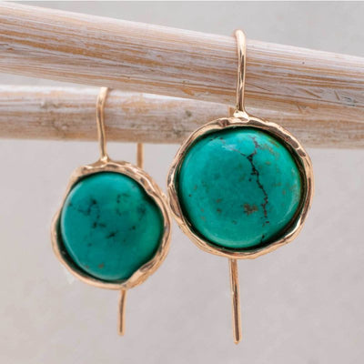14k Solid Gold 12mm Turquoise Vintage Earrings