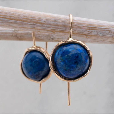 14k Solid Gold 12mm Lapis Vintage Earrings