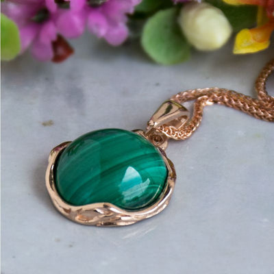 14K Rose gold 12mm Malachite Vintage Pendant