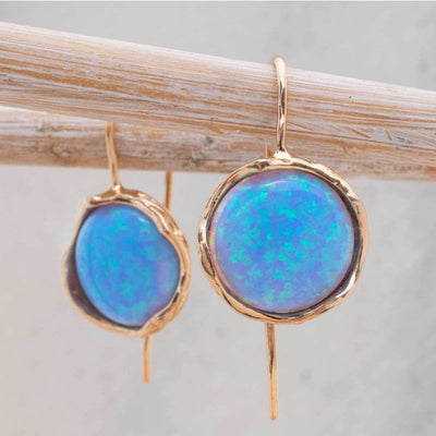 14K Rose gold Round Blue Opal Earrings - Opal Earrings , Handmade