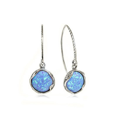 925 Sterling Silver Handmade 12mm Blue Opal Vintage Dangle Earrings