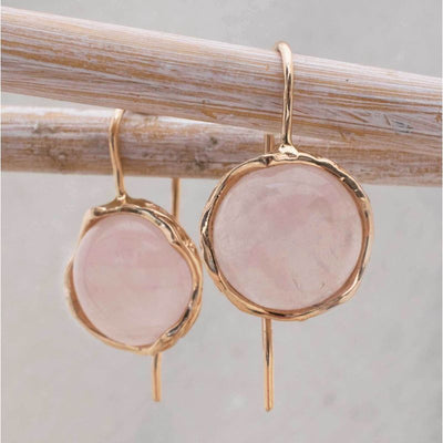 14k Solid Gold 12mm Roze Quartz Vintage Earrings