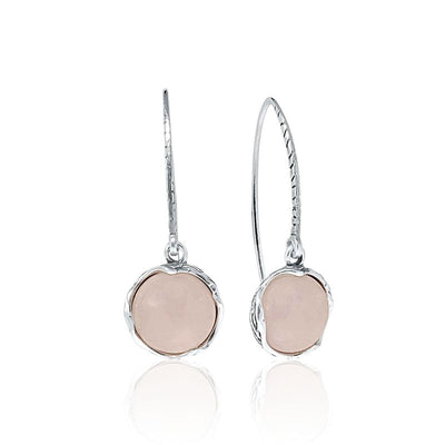 925 Sterling Silver Handmade 12mm Rose Quartz Vintage Dangle Earrings