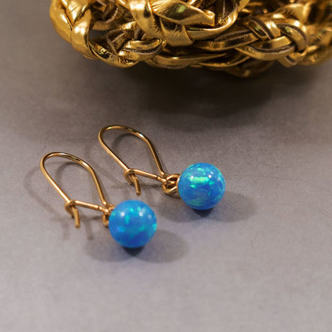 14k Gold Earrings With Blue Opal 6mm Bead