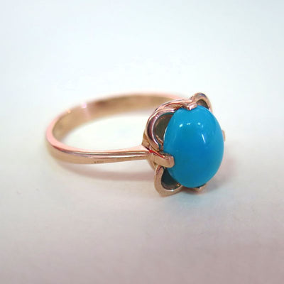 14K Rose gold Vintage Ring With 8x10 Turquoise Gemstone