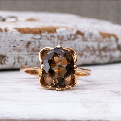 14K Rose gold Vintage Ring With 8x10 Smoky Quartz Gemstone