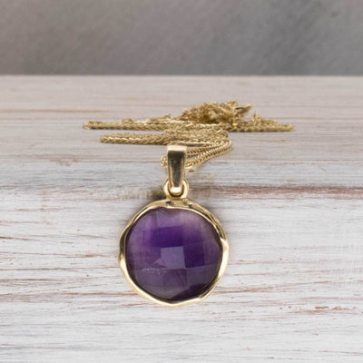 14K Yellow Gold Round Purple Amethyst Pendant - Vintage Boho Necklace , Handmade