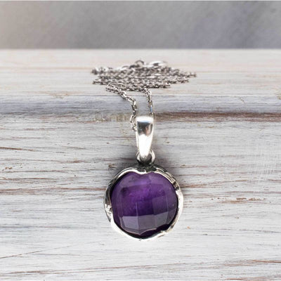 14K White gold Round Purple Amethyst Pendant - Vintage Gold Necklace , Handmade
