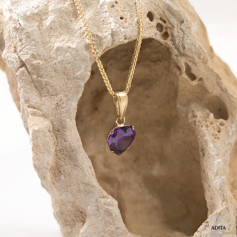 14K Yellow Gold Heart Shaped Purple CZ Pendant
