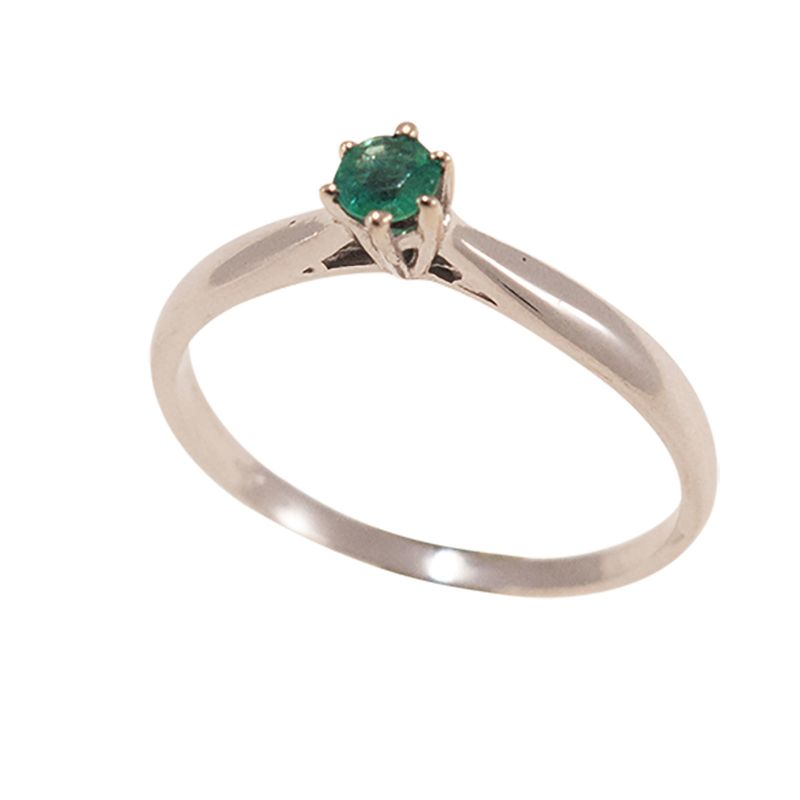 14K White Gold 3mm Natural Green Emerald Solitaire Ring