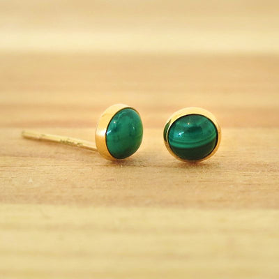 14k Solid Gold 4mm Malachite Stud Earrings With Gold Closures