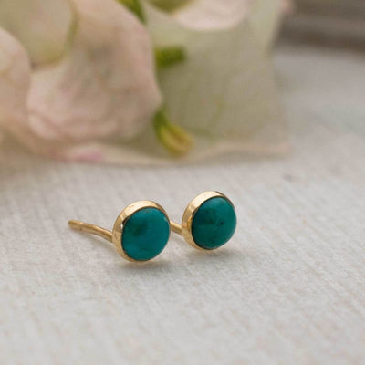 14k Solid Gold 4mm Turquoise Stud Earrings With Gold Closures