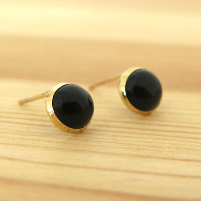 14k Solid Gold 6mm Black Onyx Stud Earrings With Gold Closures