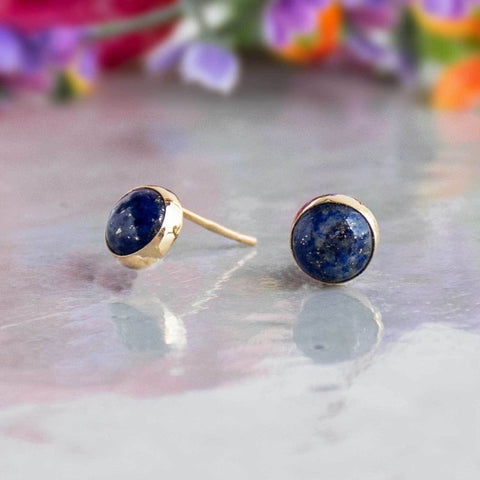 14k Solid Gold 6mm Lapis Stud Earrings With Gold Closures