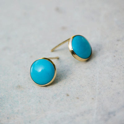 14k Solid Gold 8mm Turquoiose Stud Earrings With Gold Closures