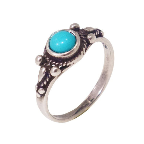 925 Sterling Silver Dainty Ring With A 5mm Turquoise Gemstone