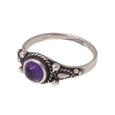 925 Sterling Silver Dainty Ring With A 5mm Amethyst Gemstone