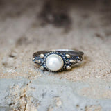 925 Sterling Silver Dainty Ring With A 5mm White Pearl Gemstone