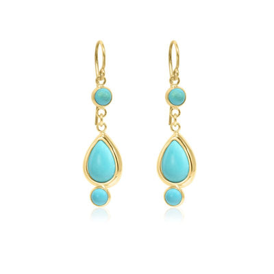 14k Solid Gold Turquoise Dangle Earrings
