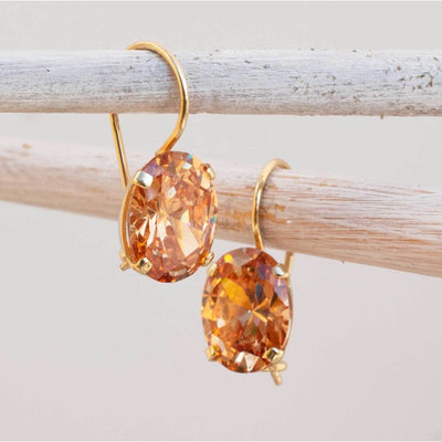 14K Gold Orange CZ 8X10mm Oval Dangle Earrings
