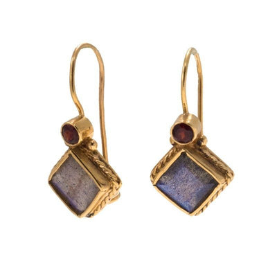 14k Gold Natural Labradorite and Garnet Rhombus Earrings