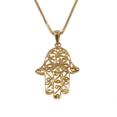 14k Solid Yellow Gold Hamsa Pendant With Diamond Cuts