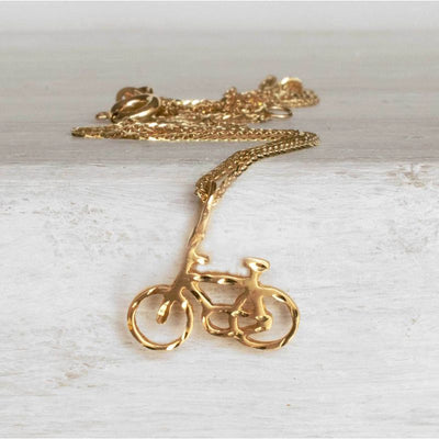 14k Solid Yellow Gold Bicycle Pendant With Diamond Cuts