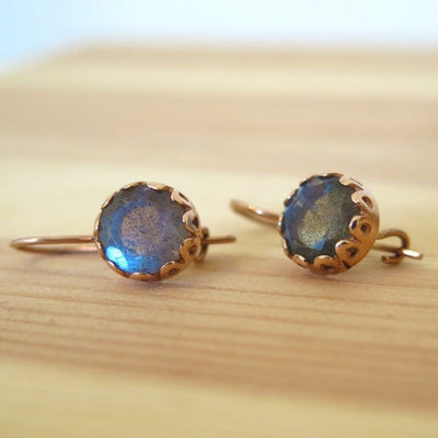14k Gold Labradorite Round Vintage Earrings