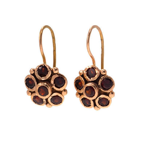 14k Yellow Gold Garnet Flower Vintage Earrings