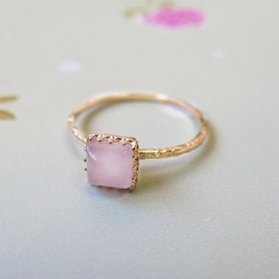 Yellow Gold 14K Roze Quartz Dainty Square Ring