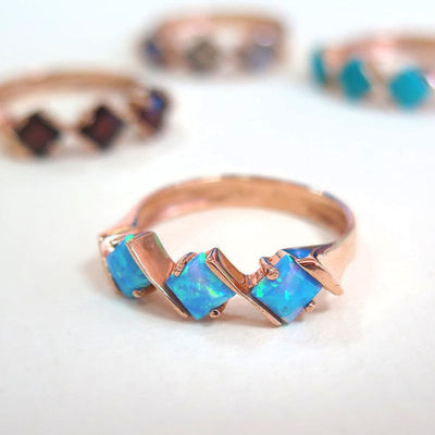 14k Rose Gold Rhombus Blue Opal Ring