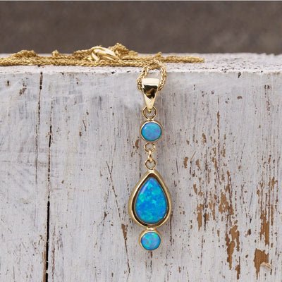14k Solid Gold Blue Opal Dangle Pendant