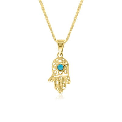 14k Solid Yellow Gold Hamsa Pendant With Small Turquoise Gemstone