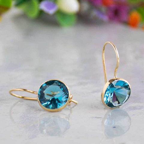 14K Gold Round 8mm Blue CZ Dangle Earrings