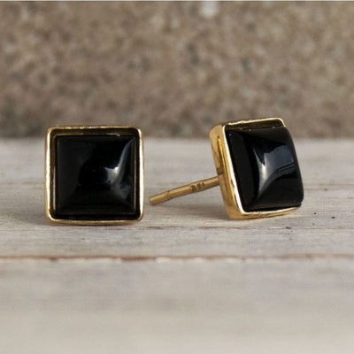 14k Solid Gold Stud Earrings With Square White Opal Gemstone