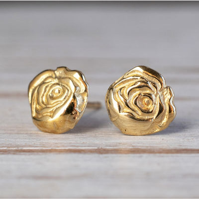 14k Solid Gold Rose Stud Earrings With Gold Closures