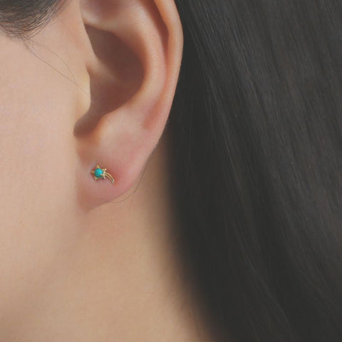 14k Solid Gold Falling Star With 2mm Turquoise Gemstone Stud Earrings