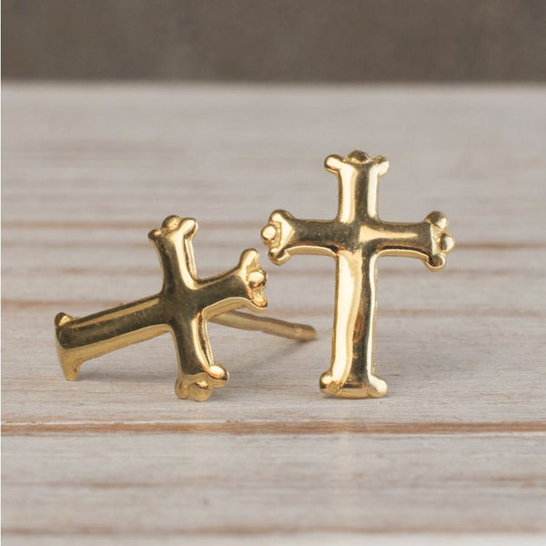 14k Solid Gold Cross Stud Earrings With Gold Closures