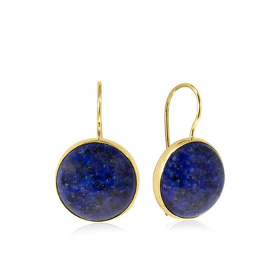 14K Gold Round 12mm Lapis Dangle Earrings