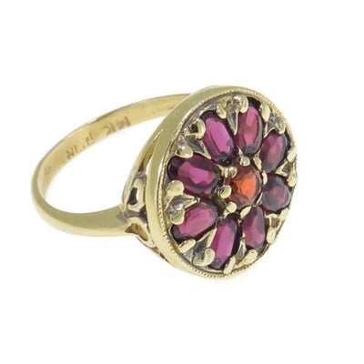 14K Rose Gold Vintage Flower Ring With A 3X5mm Oval Garnet And A 4mm Garnet In The Middle