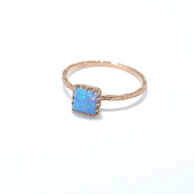 Rose Gold 14K Blue Opal Dainty Square Ring