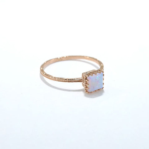 Rose Gold 14K White Opal Dainty Square Ring