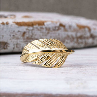 14k Solid Yellow Gold Thick Feather Ring