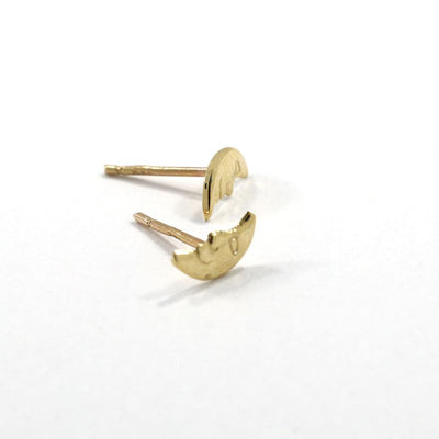 14k Solid Gold Moon Stud Earrings With Gold Closures