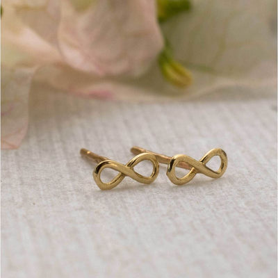 14k Solid Gold Infinity Stud Earrings With Gold Closures