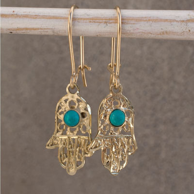 14k Solid Gold Hamsa Drop Earrings with Turquoise Gemstone