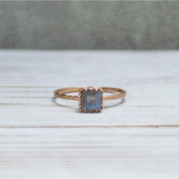 Rose Gold 14K Amethyst Dainty Square Ring