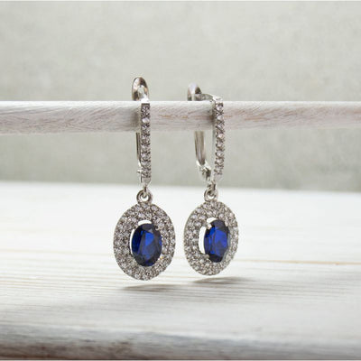 14k Solid Gold Ellipse Earrings With Dark Blue CZ Gemstone